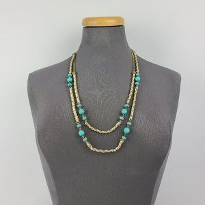 Lia Sophia Gold & Turquoise Layered Chain Necklace